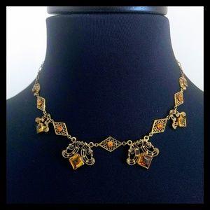 Vtg. Beatiful Czech Art Deco Filigree Necklace